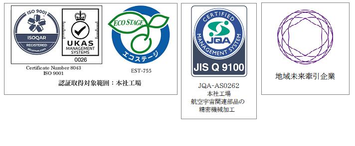 ISO9001_ECOSTAGE_JISQ9100_地域未来牽引企業
